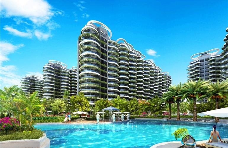 龙栖海岸海景房源在售,户型建面约103-104㎡,拓展面积后使用面积190㎡-221㎡,总价约190万/套